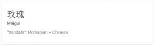 Traducerea cuvantului in Chineza